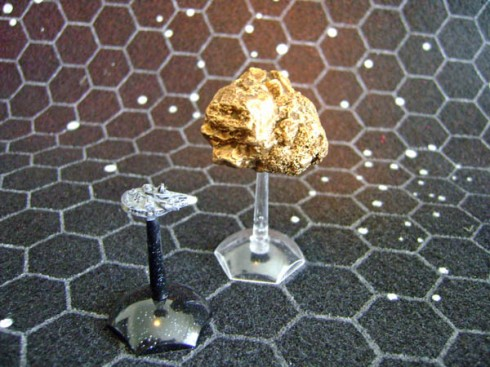 Asteroid Gold with Millennium Falcon
