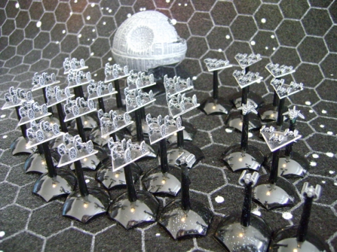 Star Wars Fleet scale TIE fighters and Bombers